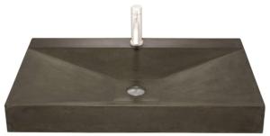 Håndvask i sort beton