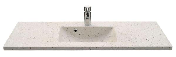 Lækker gnistret terrazzo håndvask, med pæne afrundinger. Farven er lys med sorte og mørke sten - et råt look med en flot finish. Vasken har målene: 123,2 x 54,5 x 3 cm. Materialet er en blanding af cement og de små natursten, der giver vasken sin flotte gnistrede finish. Vasken skal stå på et skab. Køb et af vores tre slags åbne ophæng til slimlinevaske eller se vores guide til hvilket skab, der passer til og hvor du kan købe det. Vasken er hensynsmæssigt designet med fine rundinger, som både giver vasken et eksklusivt udtryk og gør den rengøringsvenlig. Vasken vedligeholdes med voks - vi anbefaler en behandling med vores egen naturvoks ID12002 et par gange om året for at opnå optimalt look.