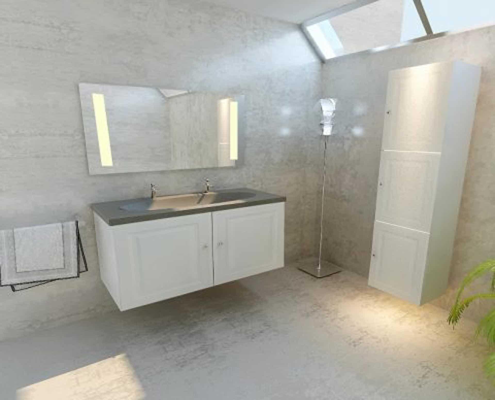 Lækker og simpel beton håndvask, med pæne afrundinger. Farven er i grå - en fantastik flot, moderne og naturlig betonfarve, der passer ind i ethvert badeværelse. Materialet er en kombination af komposit, fiber og beton, dette gør, at vasken er væsentlig stærkere end normal beton. Beton tåler ikke stærke rengøringsmidler, eller syreholdige produkter. Vi anbefaler derfor at vasken rengøres i pH neutralt rengøringsmiddel. Vasken har målene: 120,5 x 54,5 x 3 cm. Vasken skal stå på et skab. Køb et af vores tre slags åbne ophæng til slimlinevaske eller se vores guide til hvilket skab, der passer til og hvor du kan købe det. Vasken er hensynsmæssigt designet med fine rundinger, som både giver vasken et eksklusivt udtryk og gør den rengøringsvenlig. Vasken vedligeholdes med voks - vi anbefaler en behandling med vores egen naturvoks ID12002 et par gange om året for at opnå optimalt look.