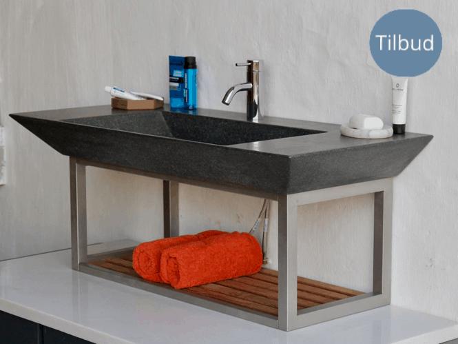 Håndvask i granit, med skarpe elegante kanter.